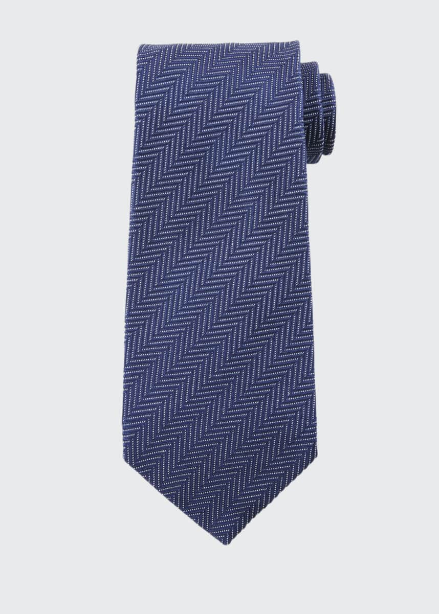 TOM FORD Tonal Stripes 9.5cm Silk/Cotton Tie, Blue