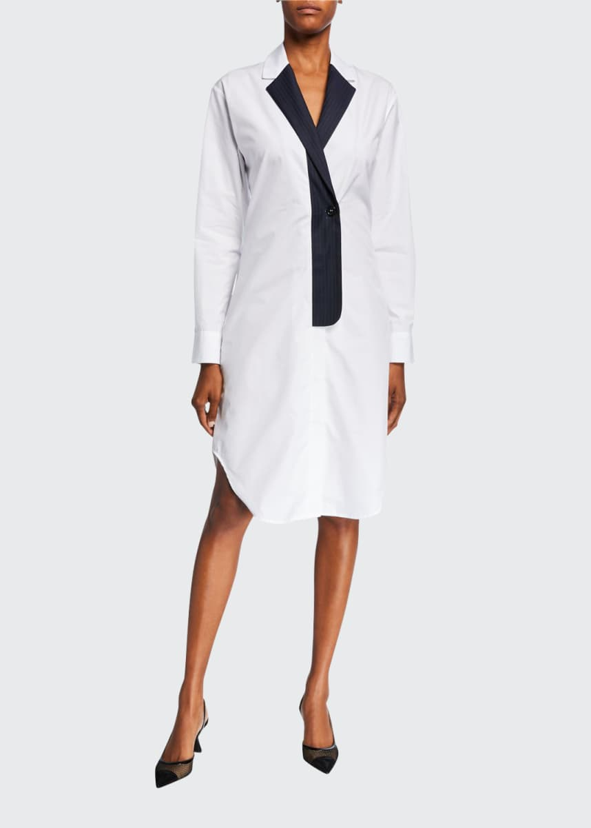 Coperni Blazer-Collar Cotton Shirtdress