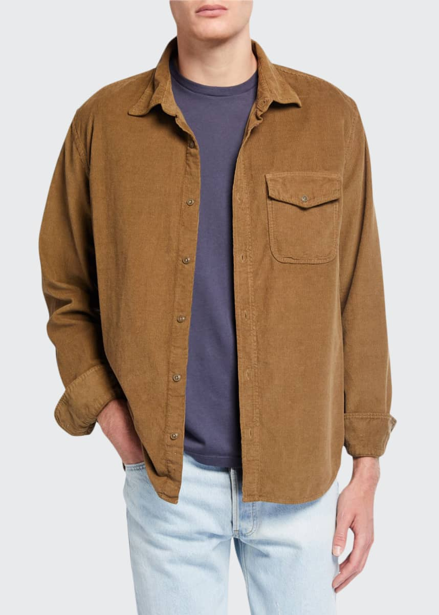 Save Khaki Men's Solid Corduroy Overshirt