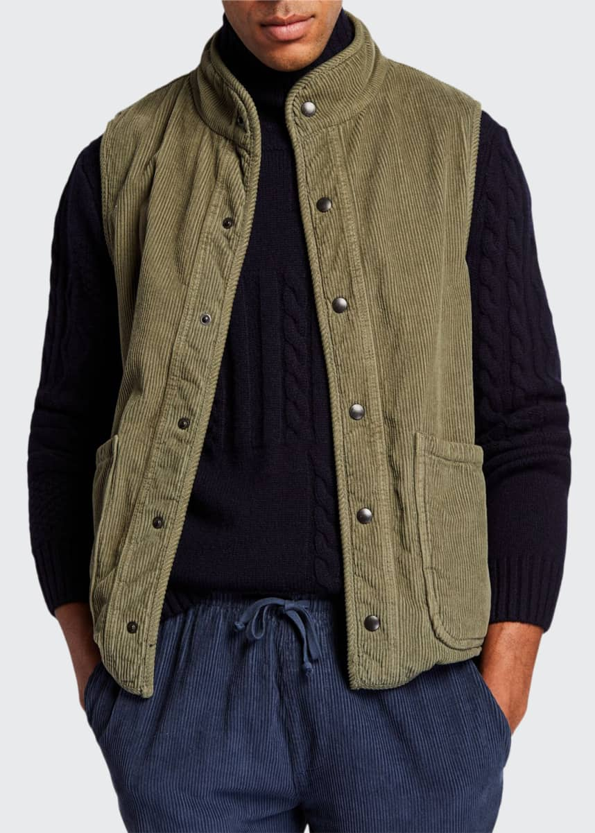 Save Khaki Men's Sherpa-Lined Corduroy Vest
