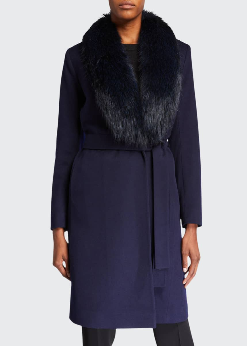 Fleurette Fox Fur Shawl-Collar Wool Wrap Coat
