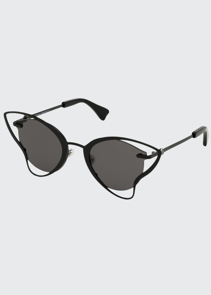Moncler Semi-Rimless Cutout Butterfly Sunglasses