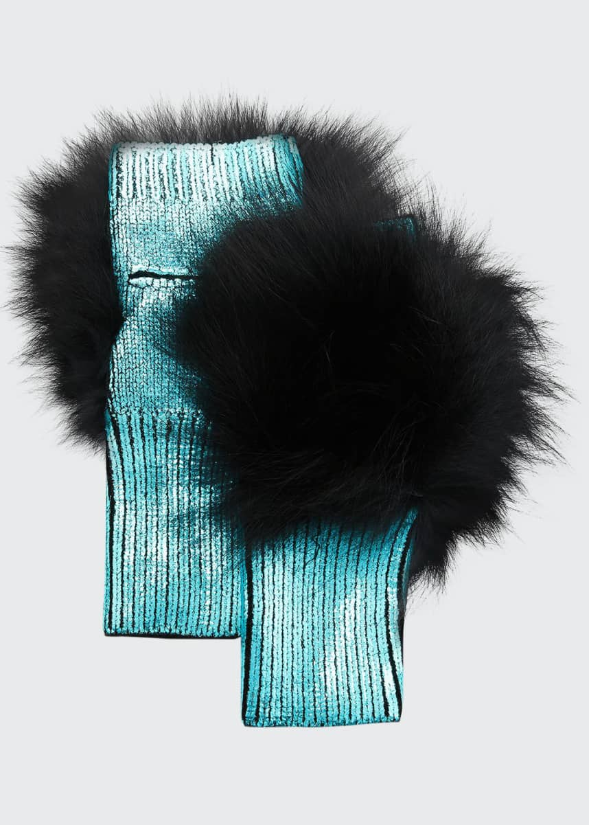 Jocelyn Metallic Fingerless Gloves w/ Fox Fur Trim