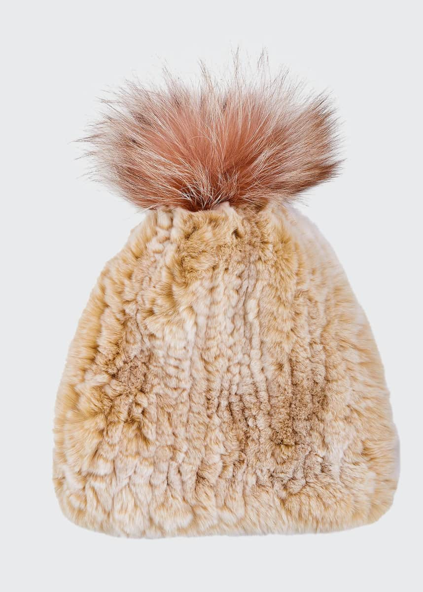 Surell Accessories Rabbit & Fox Fur Beanie Hat