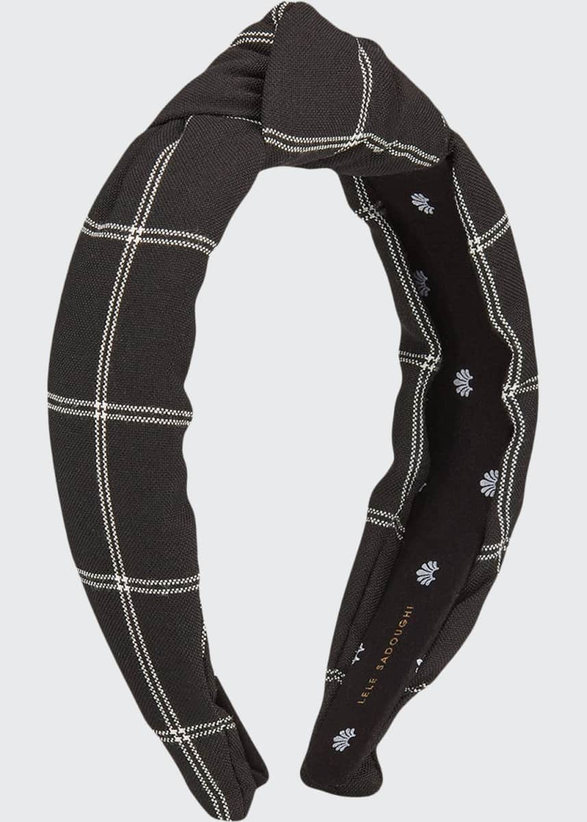 Lele Sadoughi Checked Knotted Headband