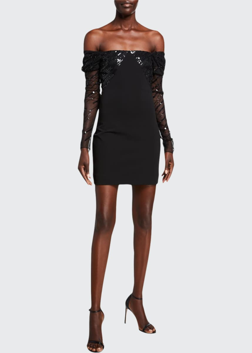 CUSHNIE Off-the-Shoulder Sequined Mini Dress