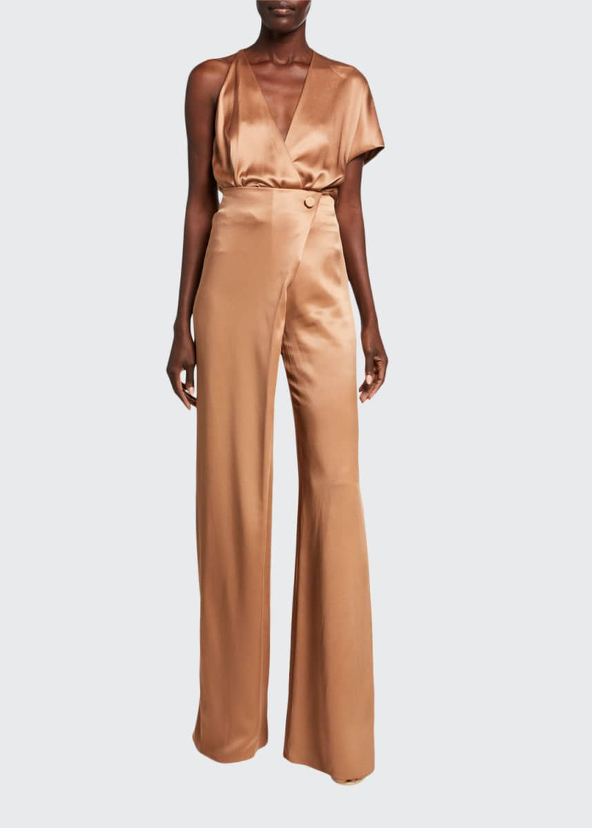 CUSHNIE Double-Charmeuse One-Shoulder Bodysuit