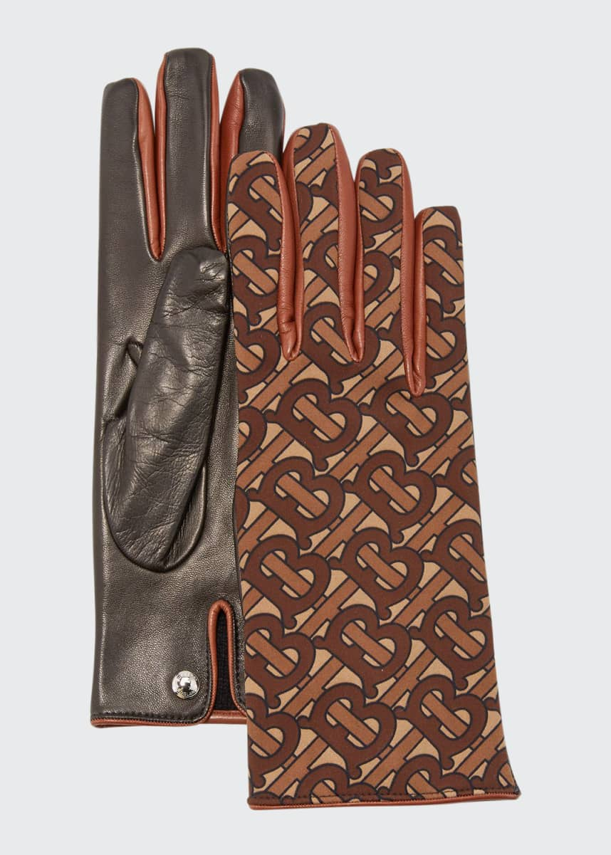 Brioni Men/'s Brown Grained Leather Winter Gloves