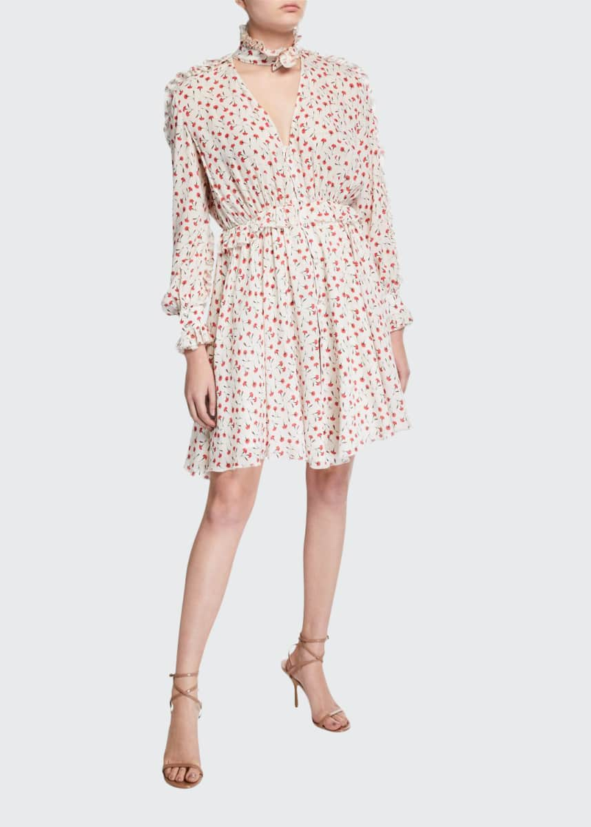 Fleur Du Mal Mock-Neck Printed Ruffle Shirt Dress