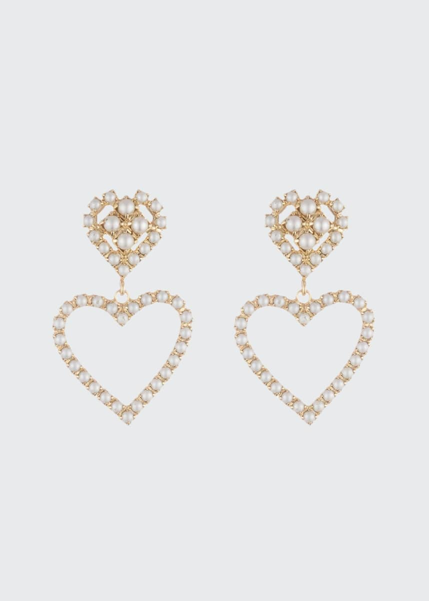 Dannijo Fiona Pearly Heart-Drop Earrings