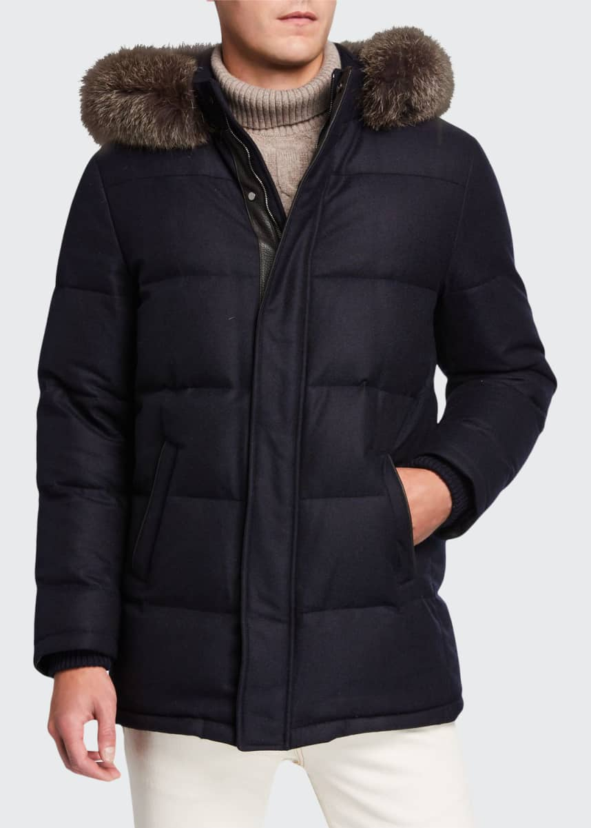 Mandelli Men's Cashmere-Blend Puffer Coat w/ Fur Trim