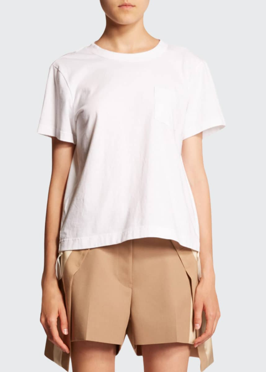 SACAI Short-Sleeve Tee with Chiffon Hem