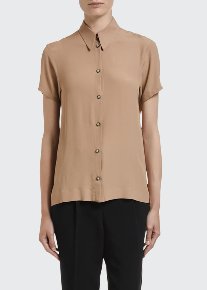 No. 21 Collared Open-Back Button-Down Top w/ Lace