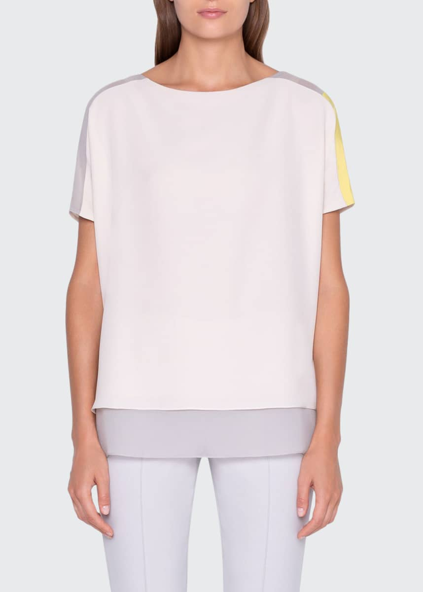 Akris Colorblocked Cap-Sleeve Tunic Blouse