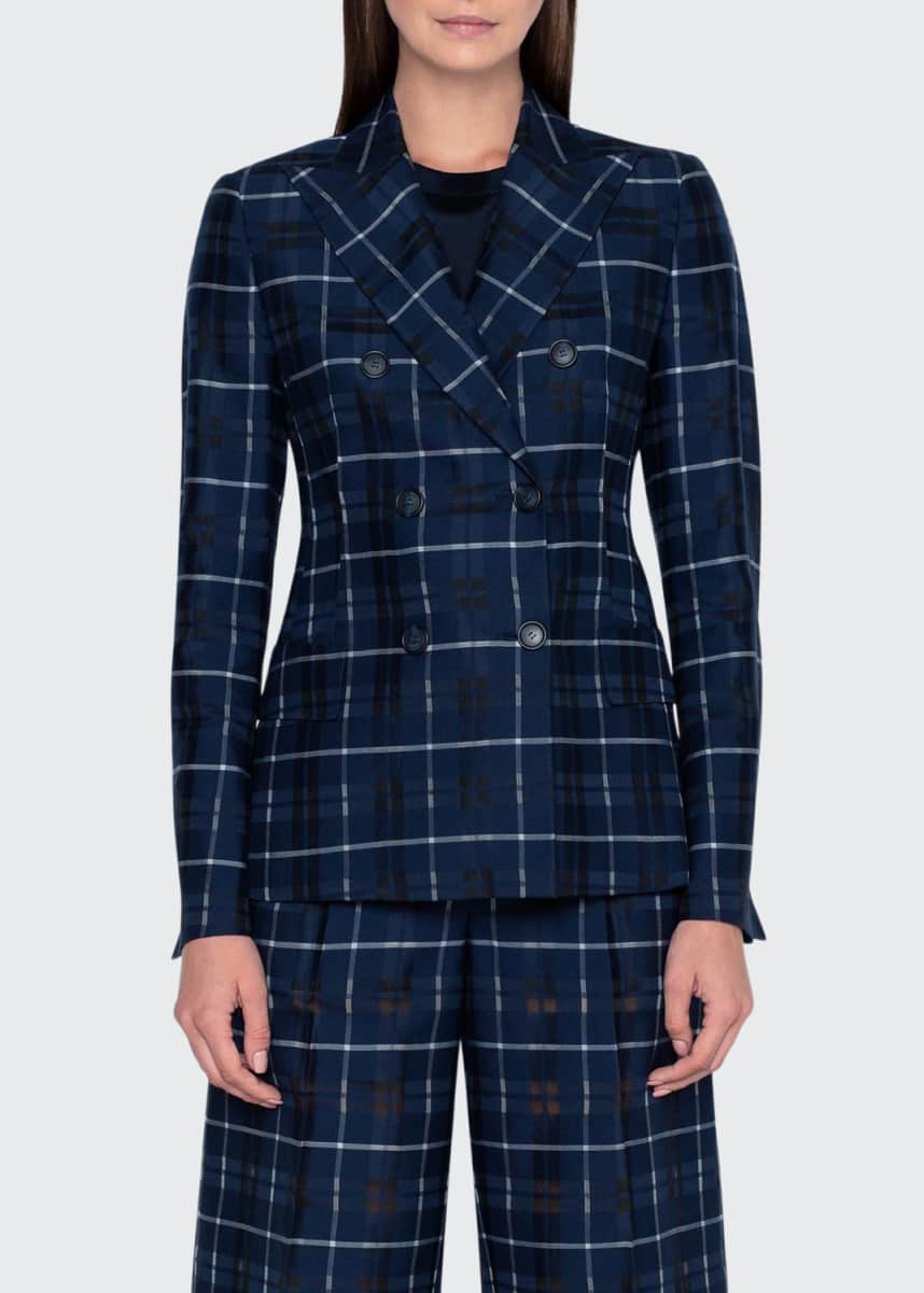 Akris Plaid Double-Breasted Blazer Jacket