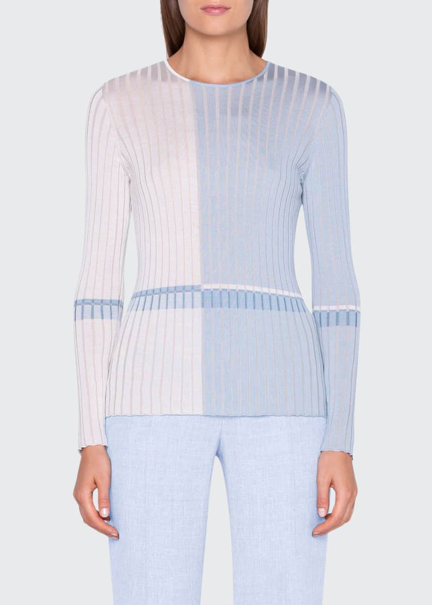 Akris Two-Tone Silk Ribbed Sweater
