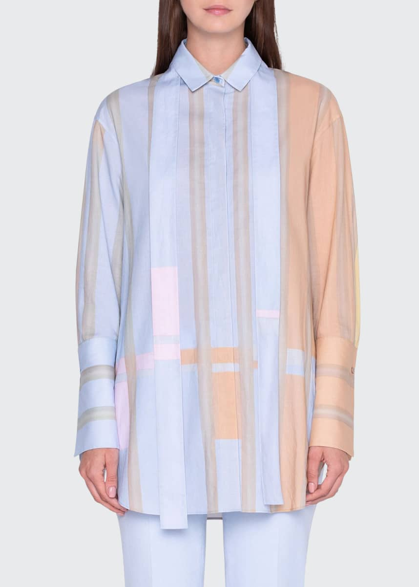 Akris Colorblocked Cotton Tunic Shirt