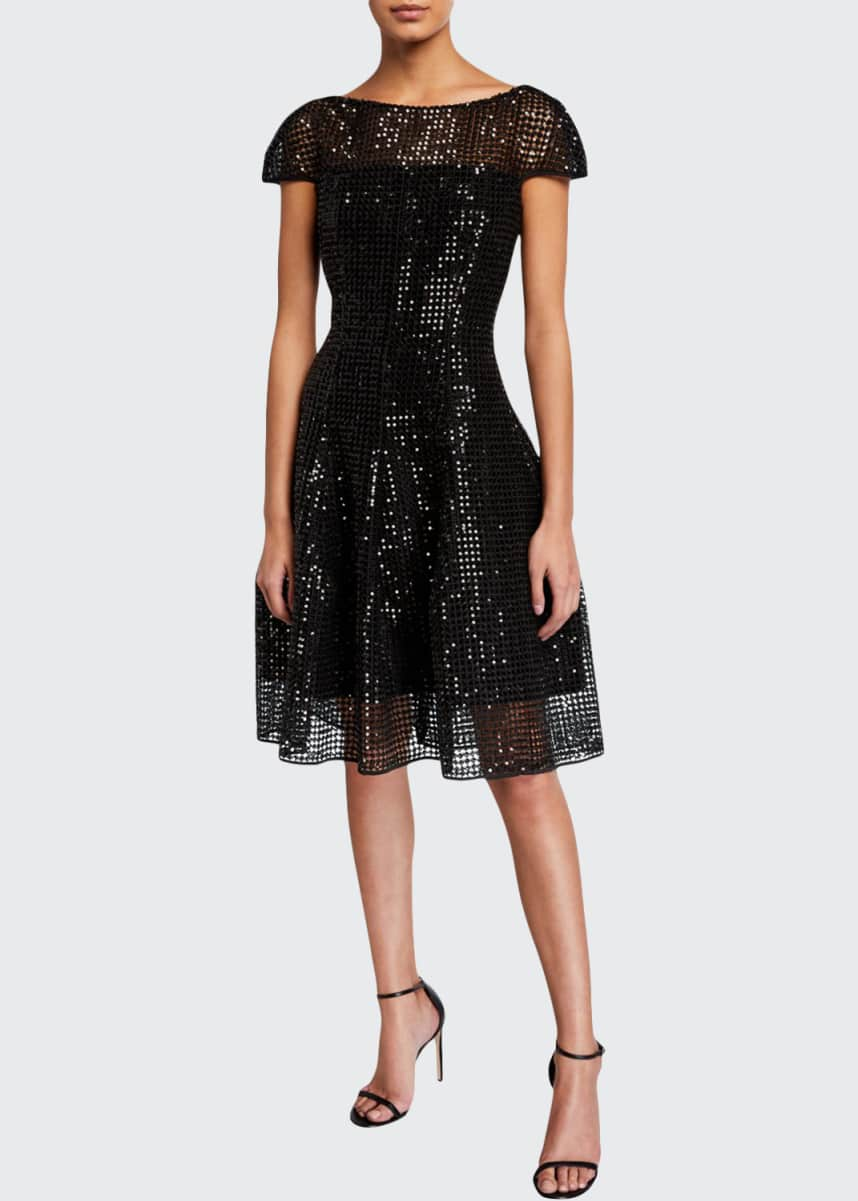 Talbot Runhof Micro-Sequined Cap-Sleeve Cocktail Dress