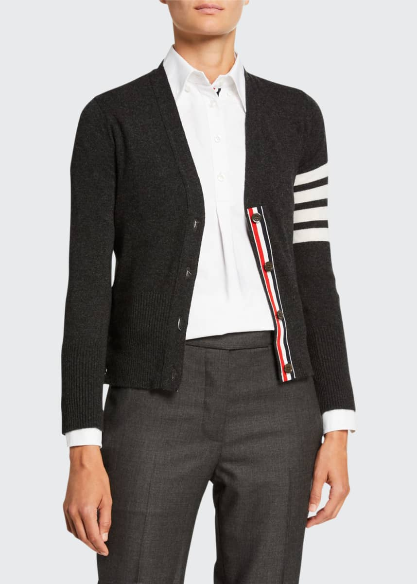Thom Browne Cashmere Striped-Sleeve V-Neck Cardigan