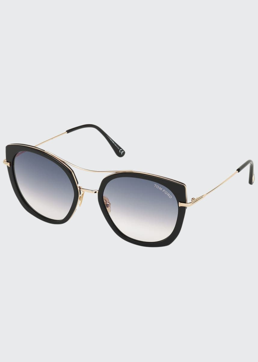 TOM FORD Joey Metal Cat-Eye Sunglasses
