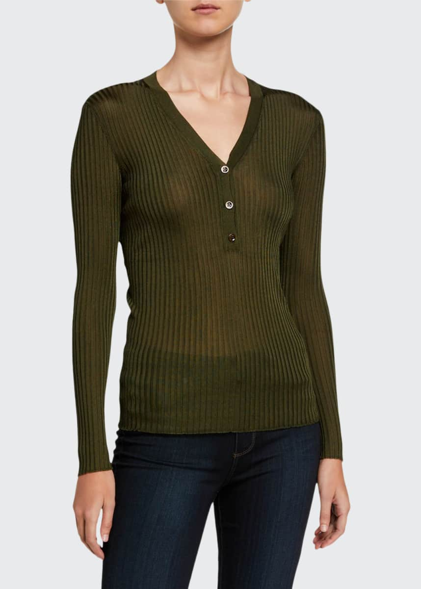 Giuliva Heritage Collection Ribbed Henley Sweater