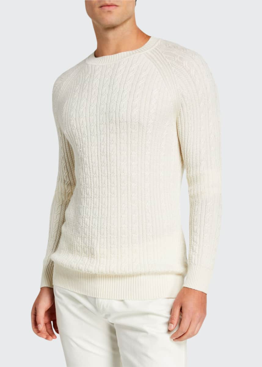 Loro Piana Men's Crewneck Cable-Knit Sweater