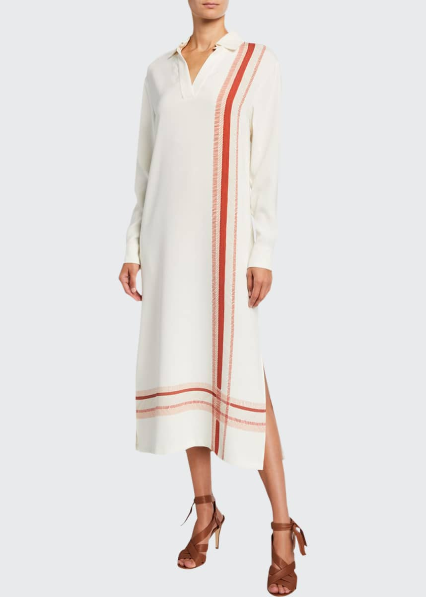 Loro Piana Printed Silk Maxi Shirtdress