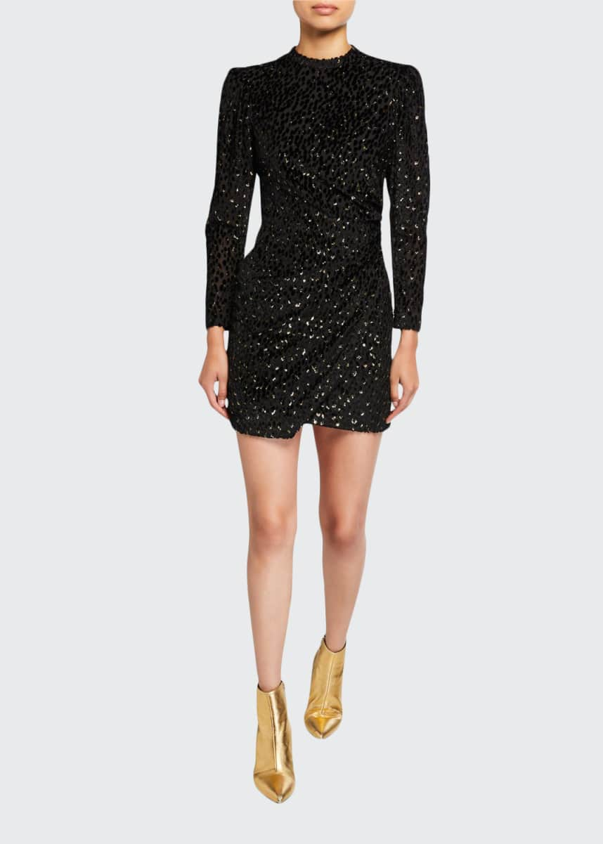 A.L.C. Jane Metallic Velvet Burnout Mini Dress