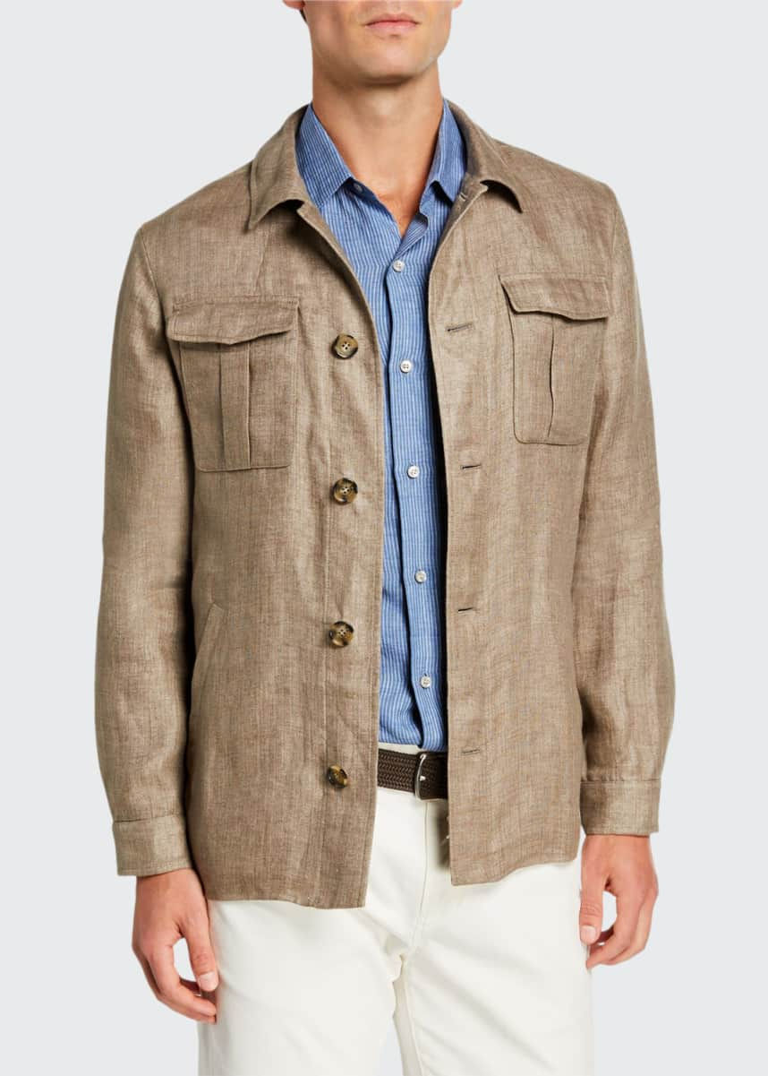 Loro Piana Men's Solid Linen Shirt Jacket