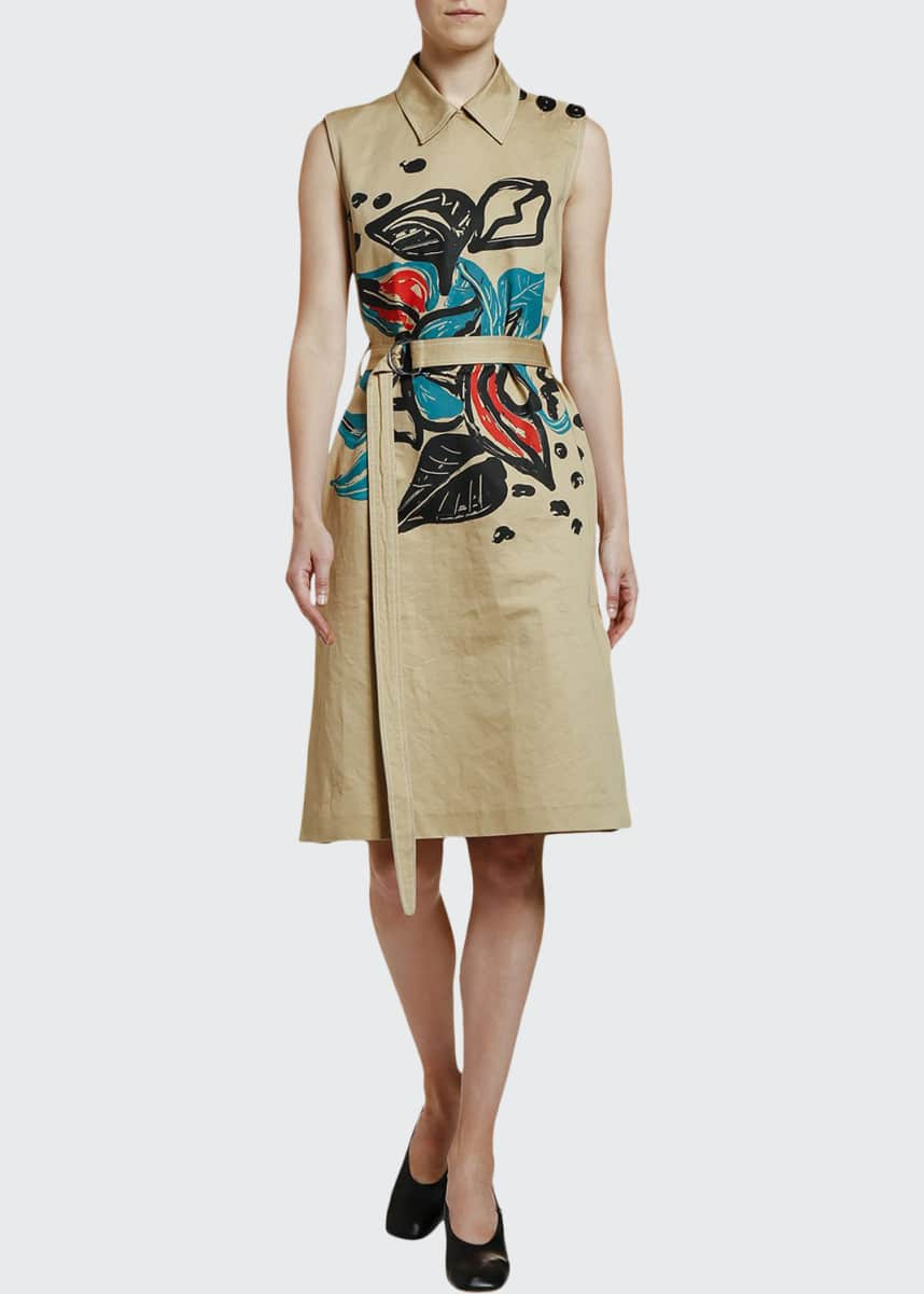 Marni Sleeveless Printed Trench Dress