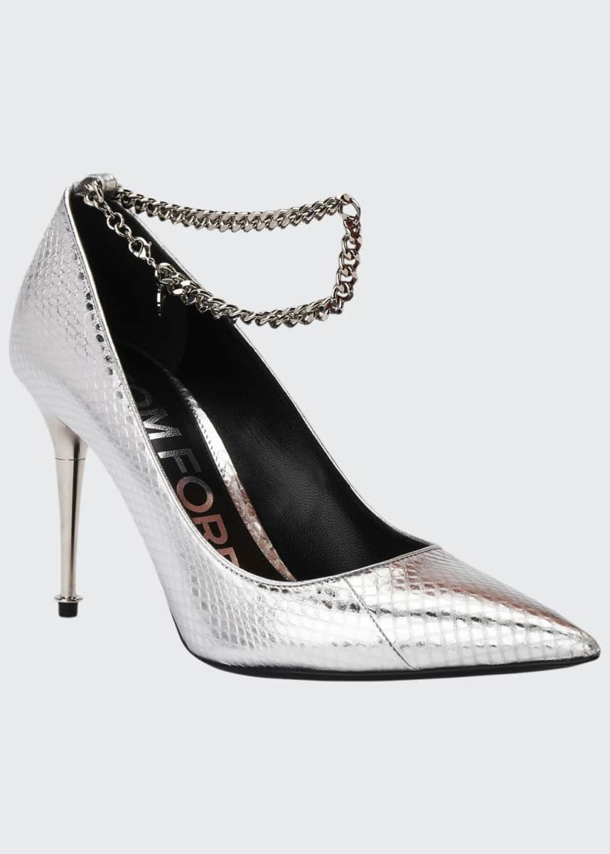 TOM FORD Laminated Snakeskin Chain Pumps