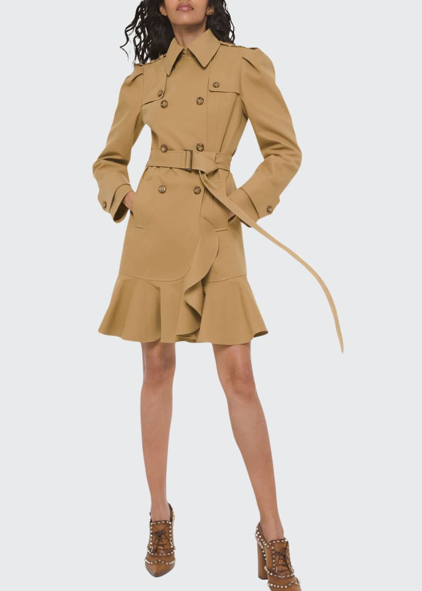 Michael Kors Collection Ruffled Military Trench Coat