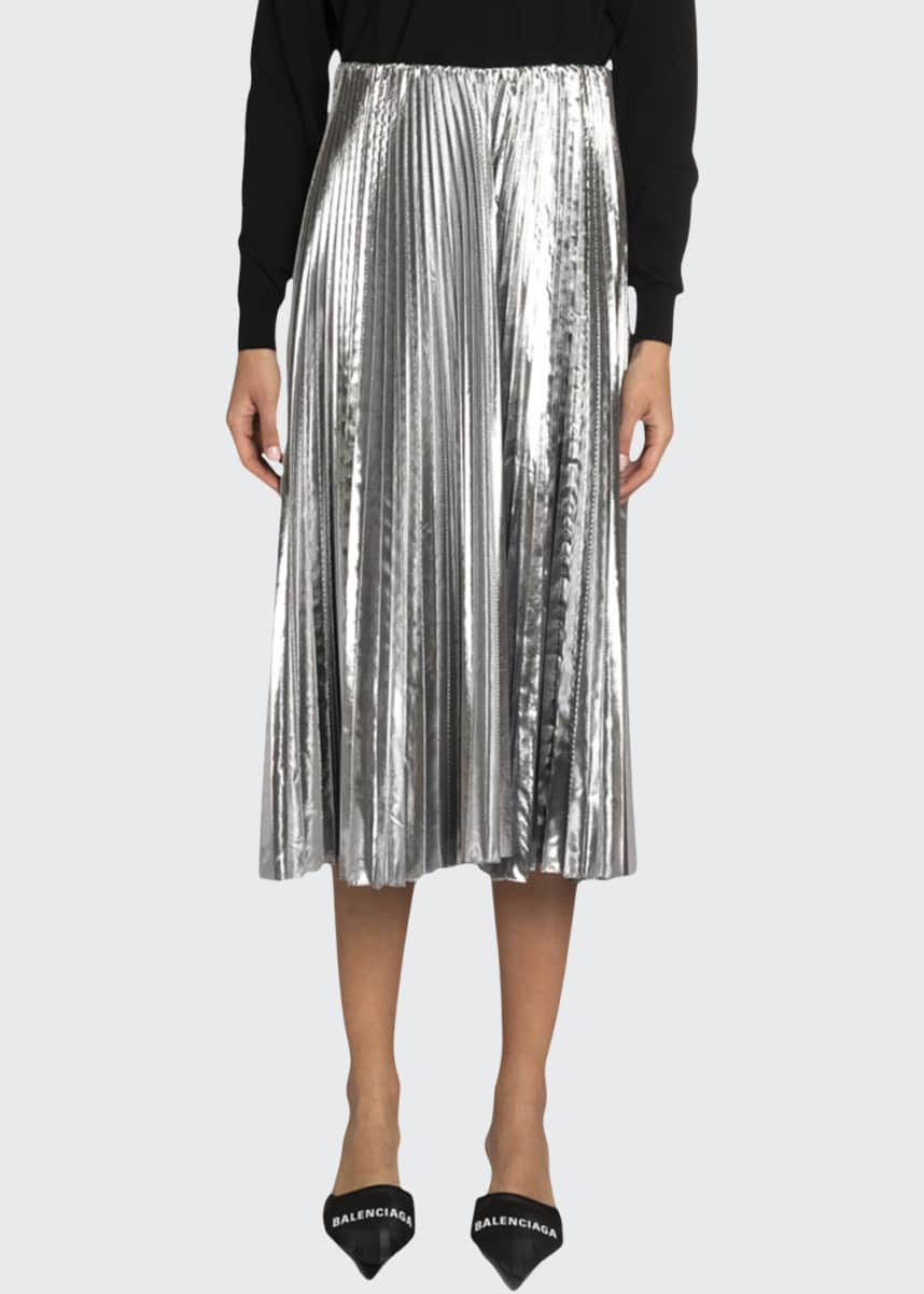 Balenciaga Metallic Pleated Midi Skirt