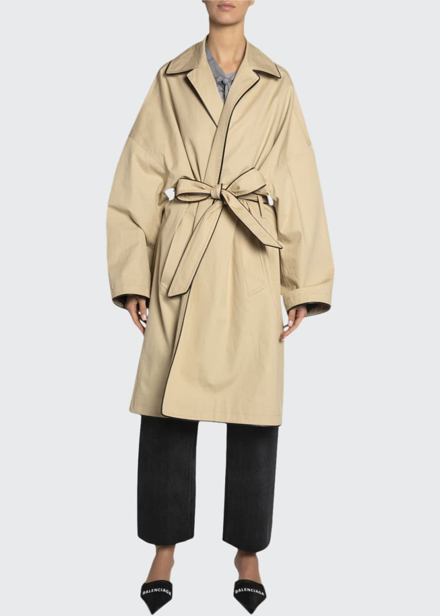 Balenciaga Wrapped Cotton Cocoon Short Coat