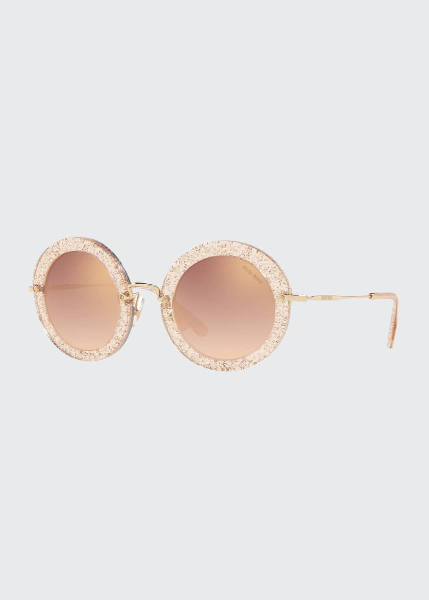 Miu Miu Mirrored Round Glitter Acetate Sunglasses