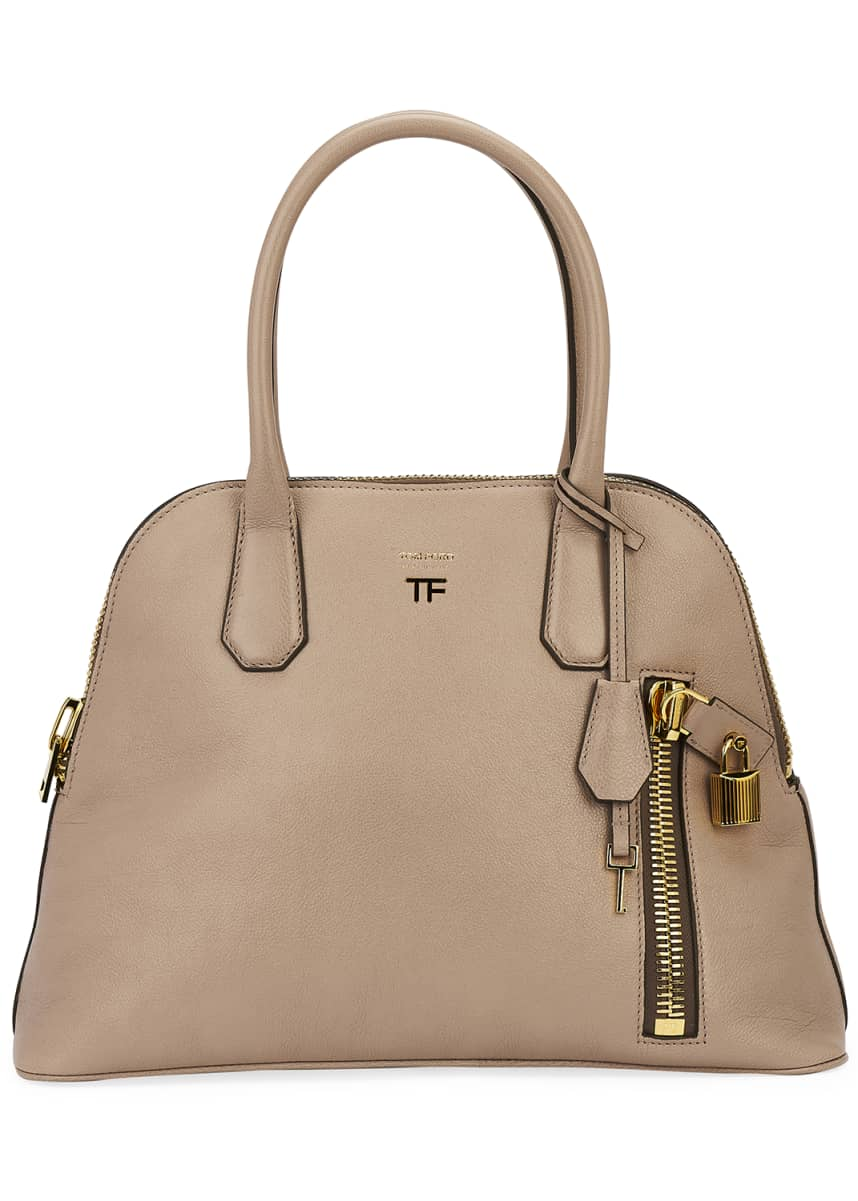TOM FORD Buffalo Grain Medium Top-Handle Dome Bag