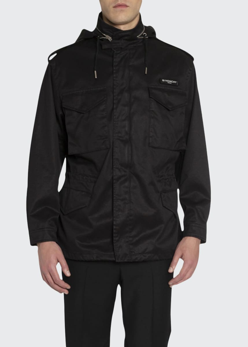 Givenchy Men's Military Parka w/ Logo Patch