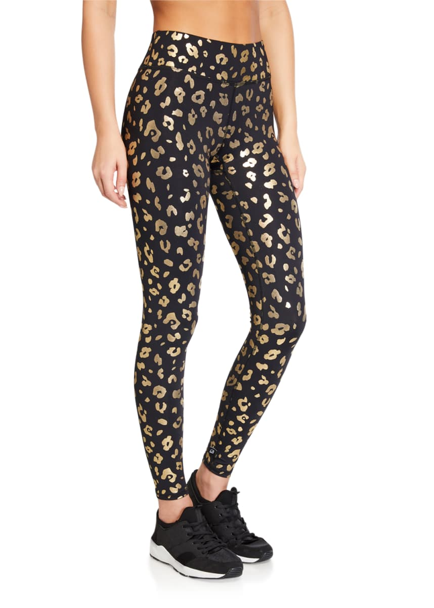 Terez Gold Cheetah Foil Printed Tall Band Leggings