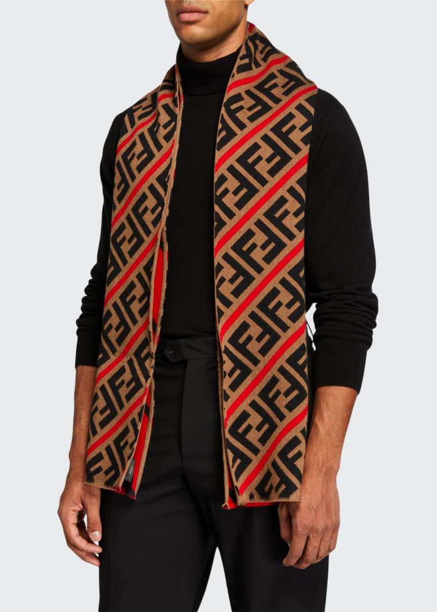 Fendi Men's FF Logo Fleece Scarf