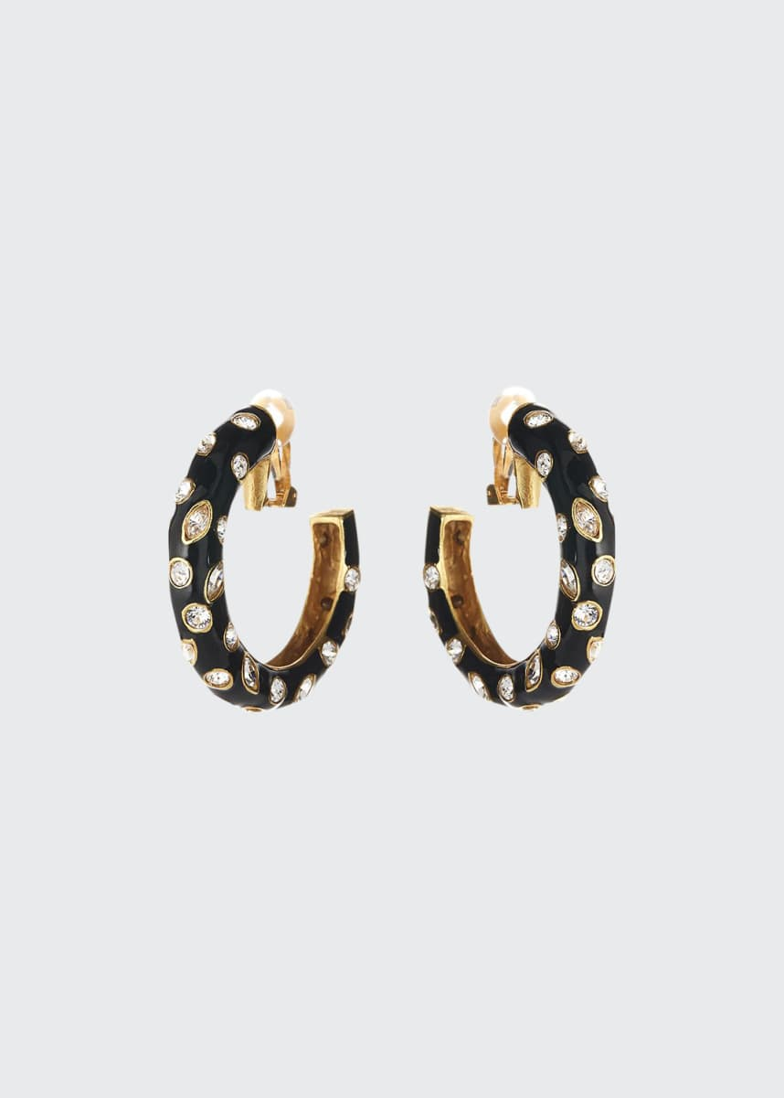 Oscar de la Renta Large Crystal Hoop Clip Earrings