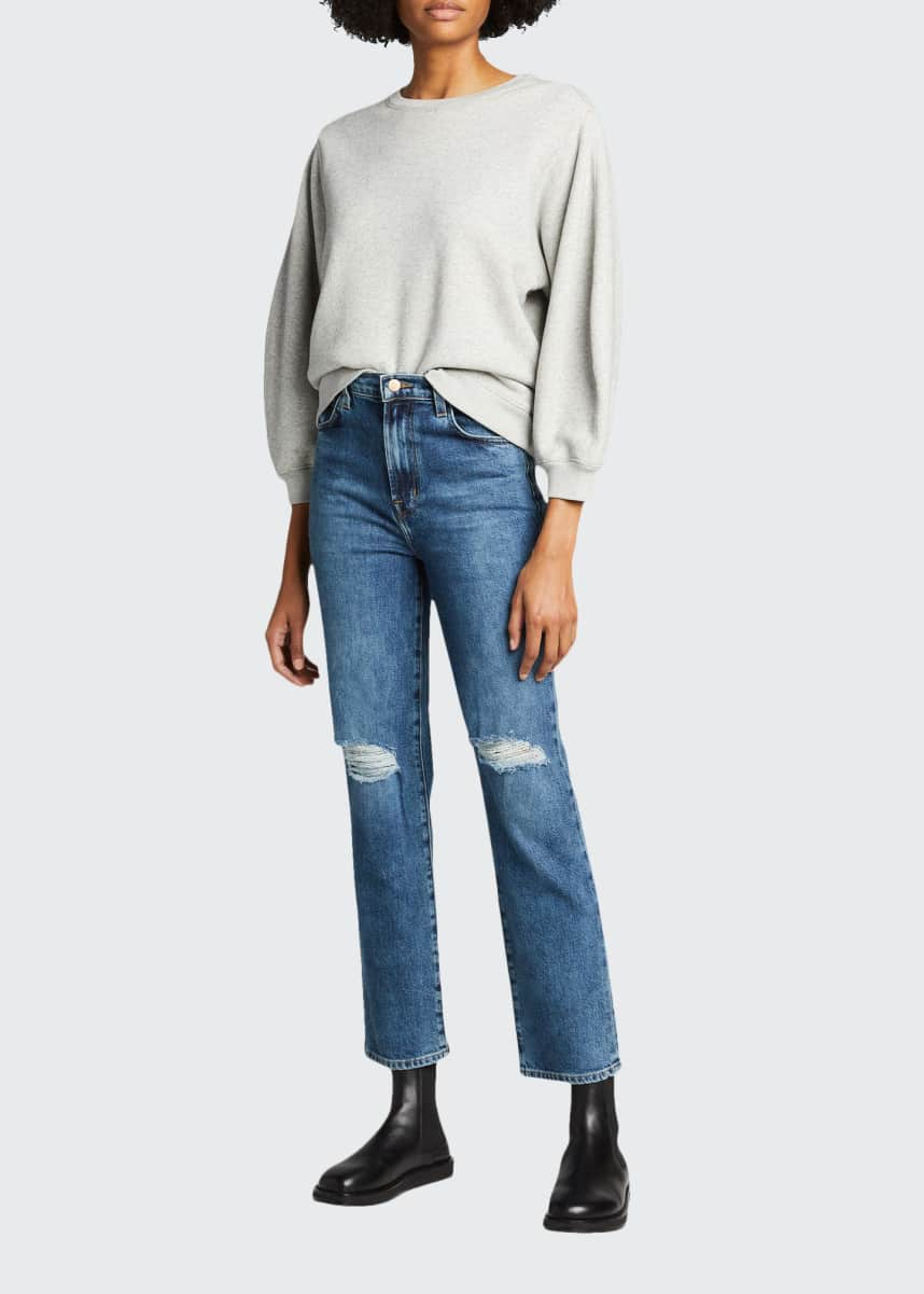 J Brand Jules High-Rise Straight Jeans w/ Distressed Knees