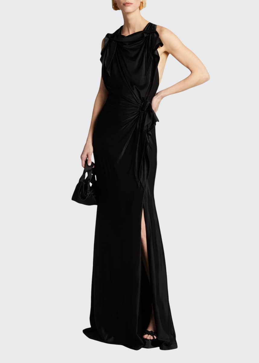 Burberry Shiny Jersey High-Neck Column Dress w/ Front Slit