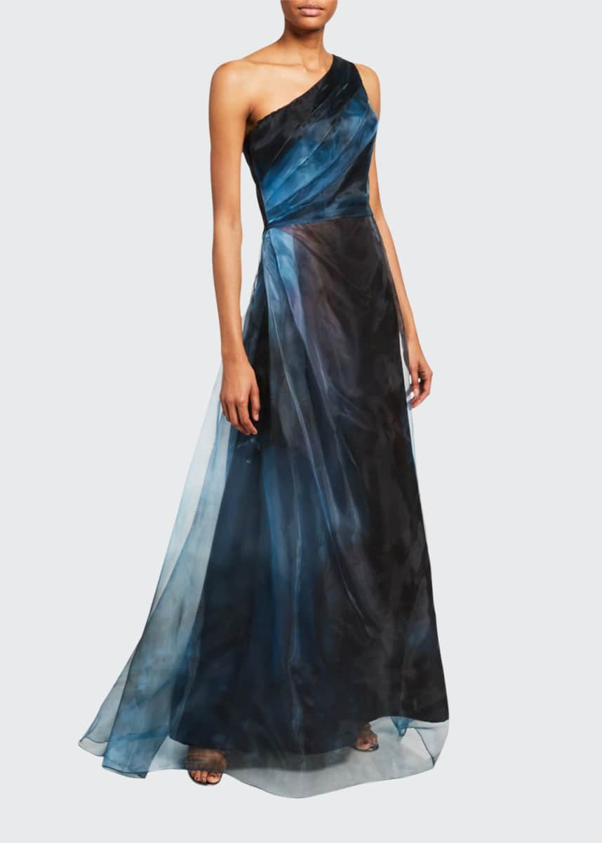 Rene Ruiz Ombre Asymmetric One-Shoulder Sheer Gown