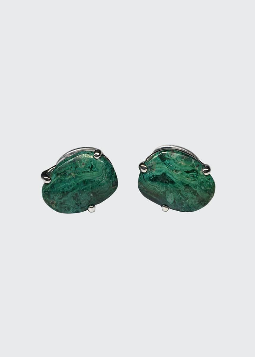 Jan Leslie Silver Chrysocolla Cuff Links