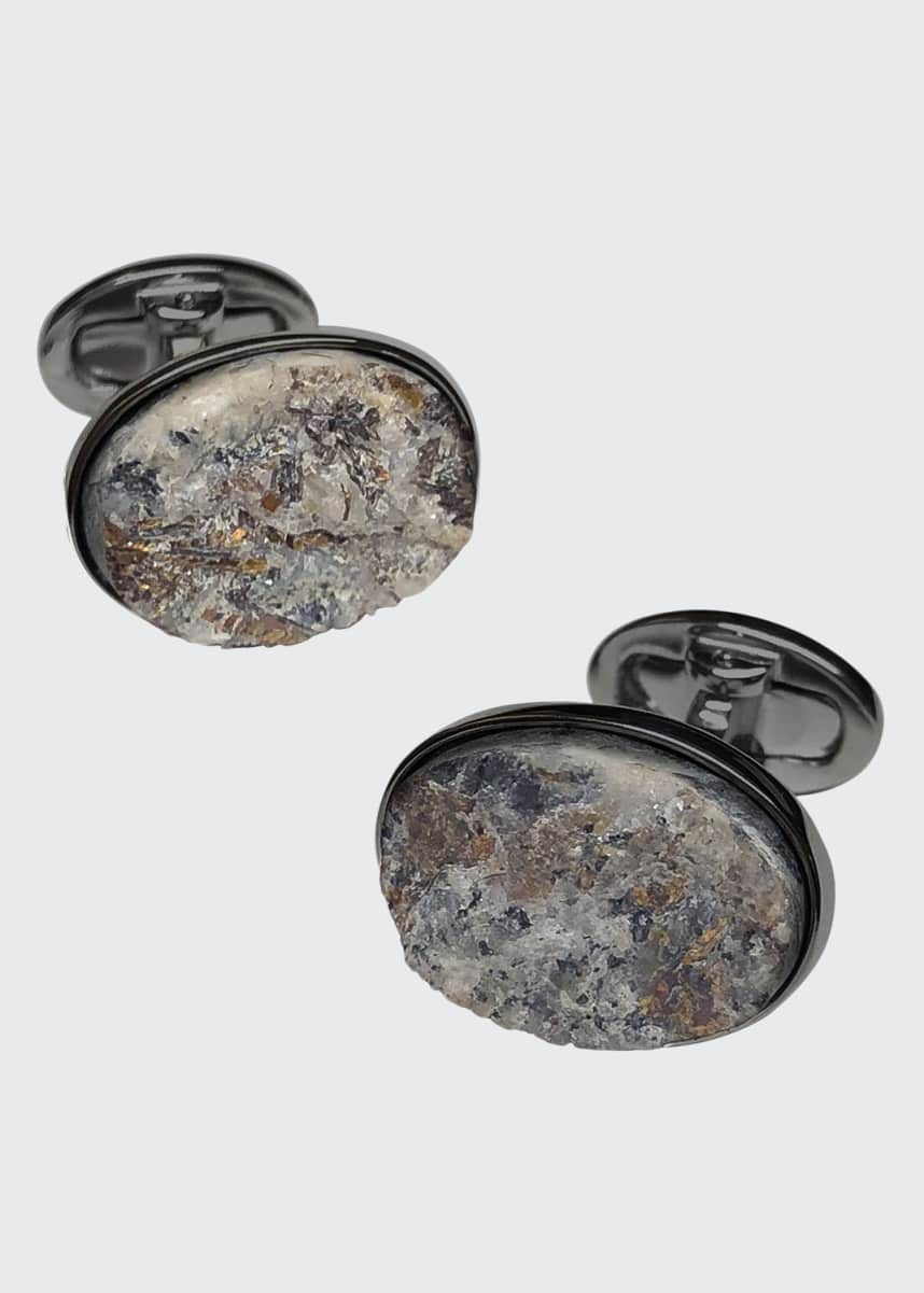 Jan Leslie Oval Astrophyllite Cufflinks on Matte Gunmetal