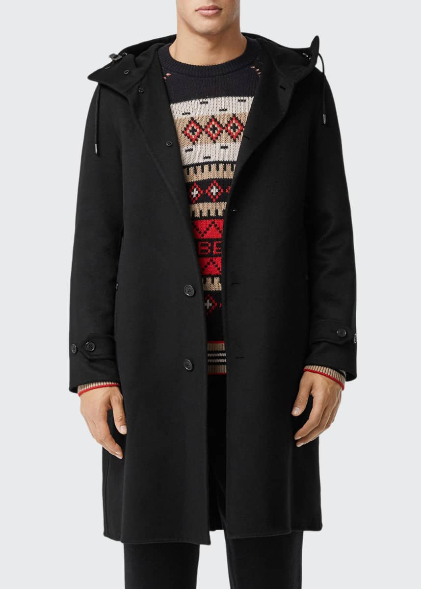 Burberry Men's Hooded Cashmere Overcoat