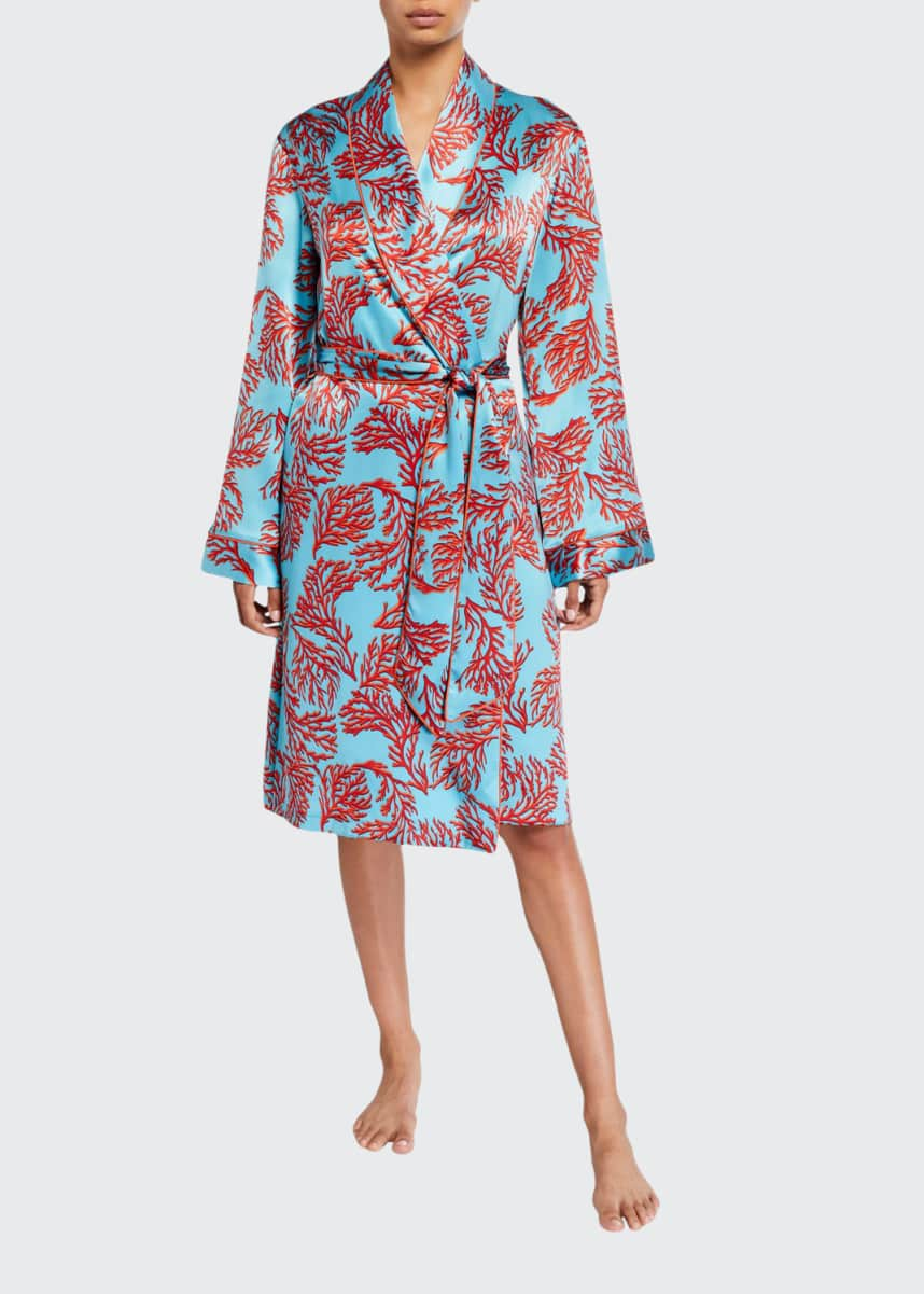 Paul Stuart Coral-Pattern Silk Robe