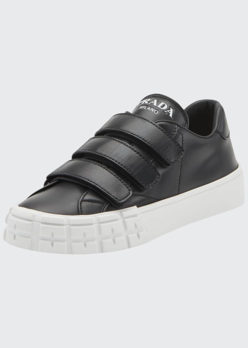 Prada Leather Three-Strap Sneakers