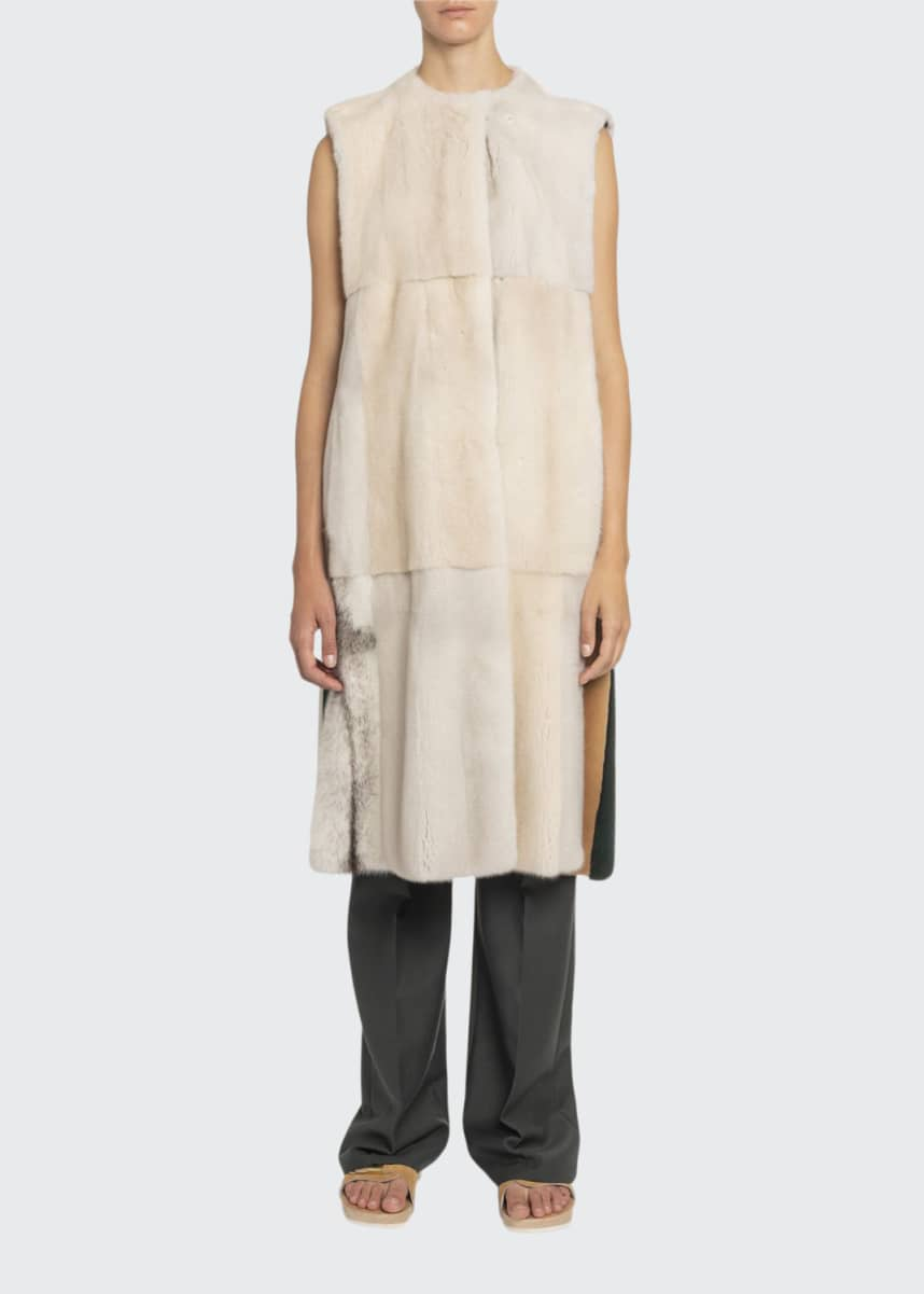 Boon The Shop Long Mink-Fur Patchwork Vest
