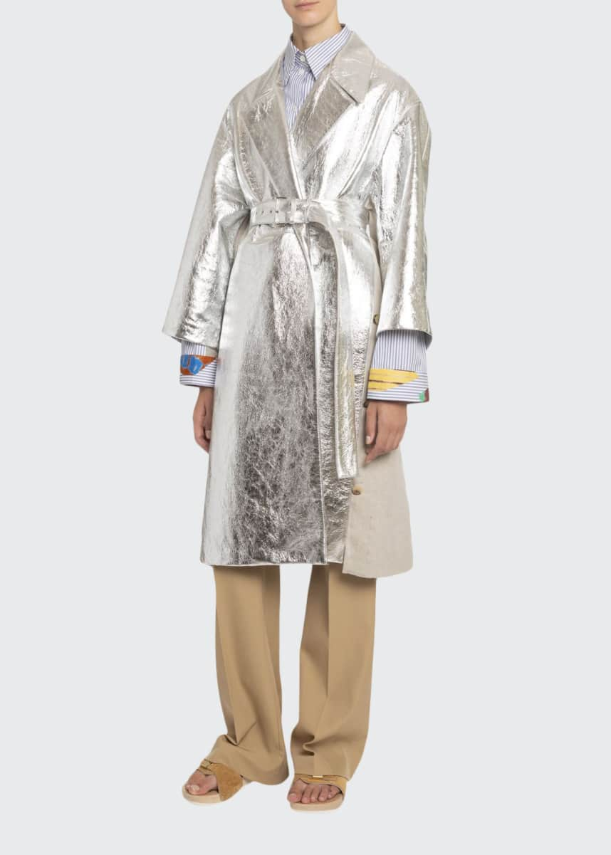 Boon The Shop Metallic Leather Belted Coat